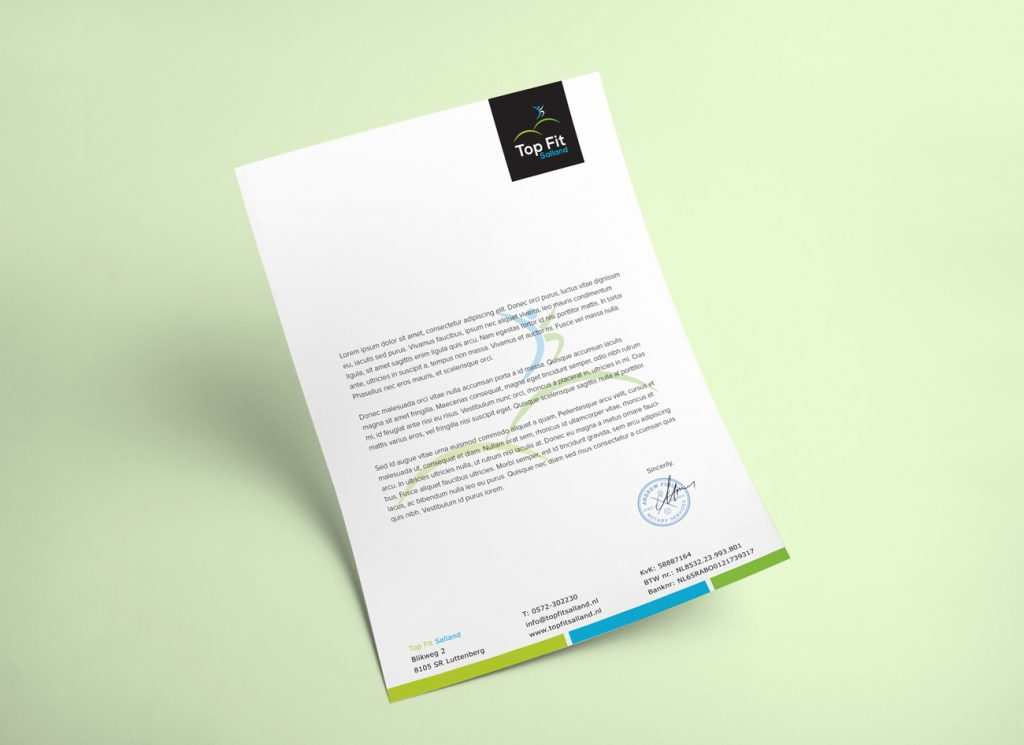 Top Fit Salland - Fris en sportief briefpapier ontwerp