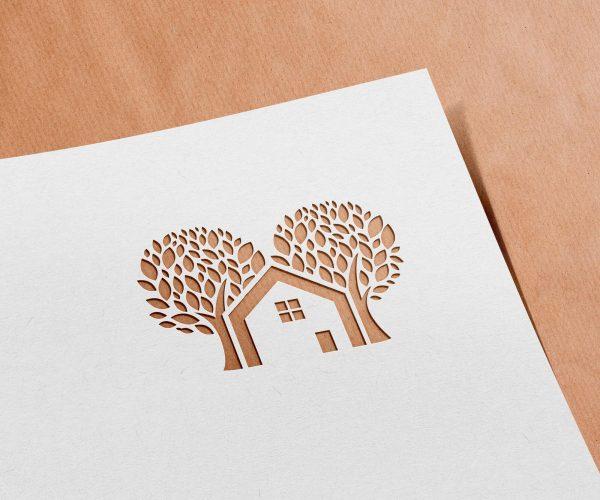 ecohouse ecologisch logo uitgesneden papier