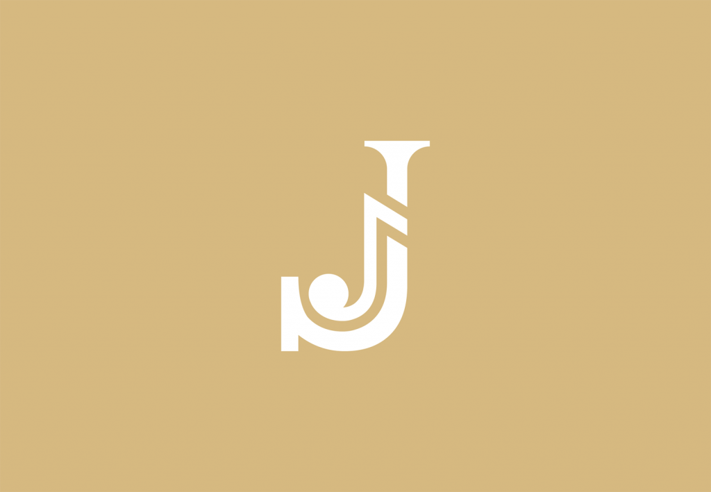 logo design J monogram with music note