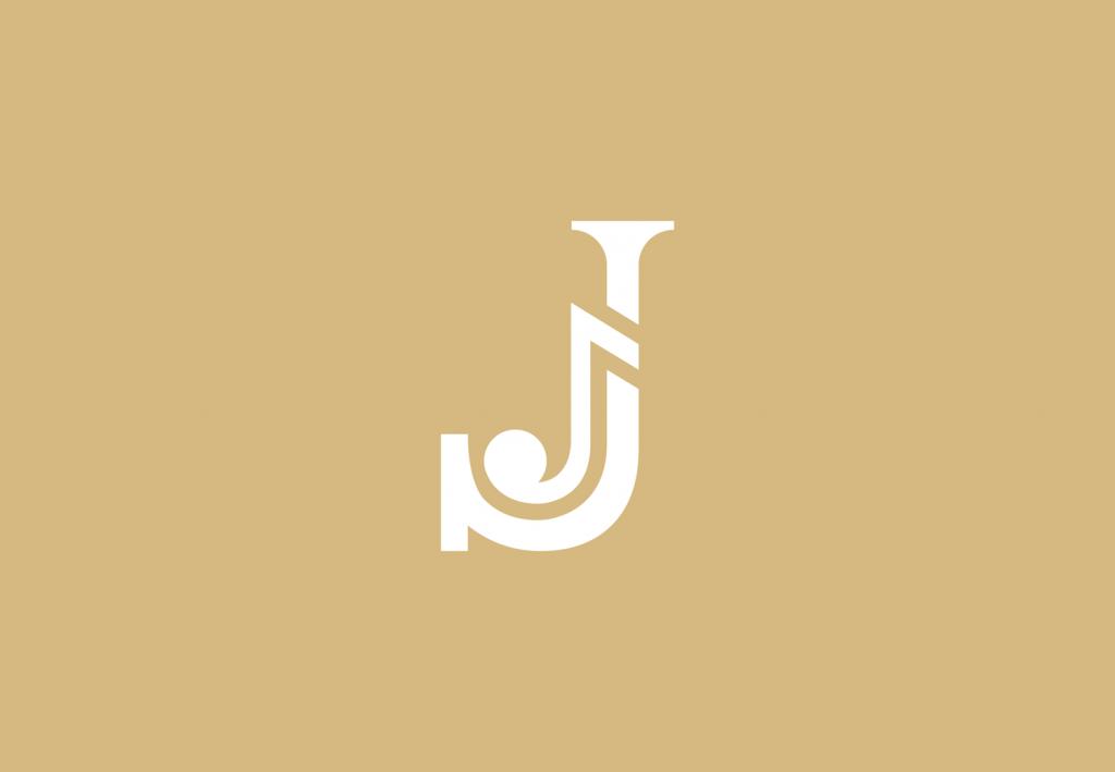 logo J monogram met muzieknoot - muzikaal logo ontwerp