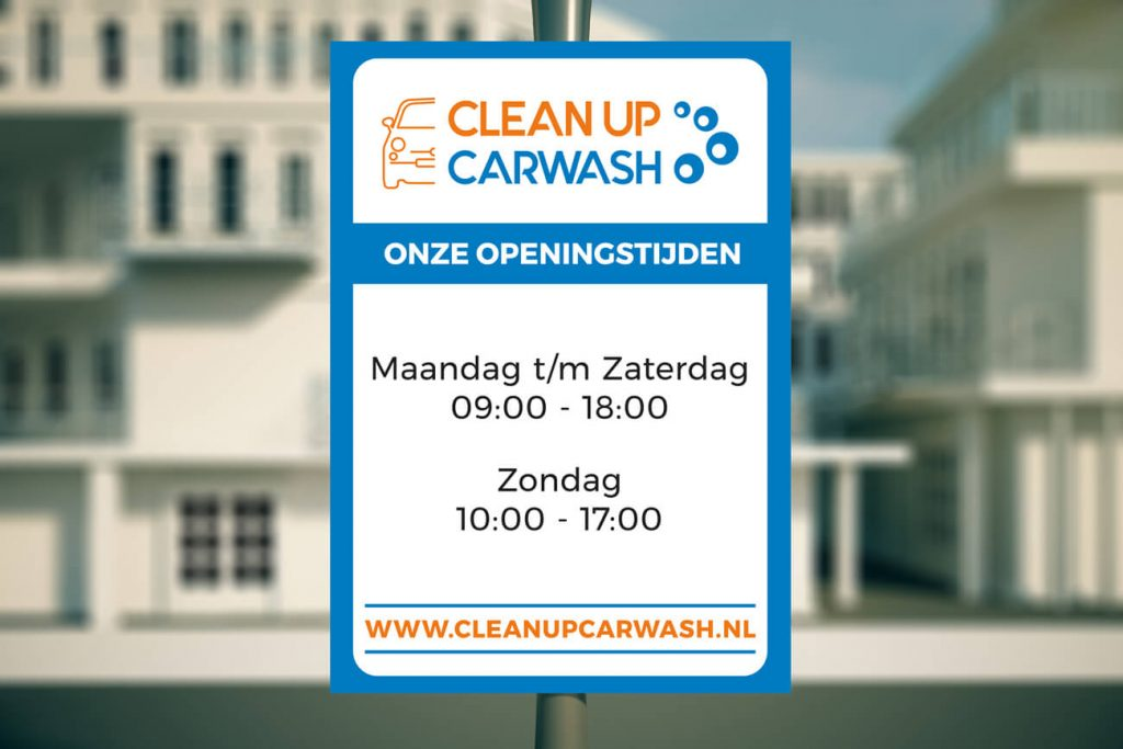 carwash opening hours sign