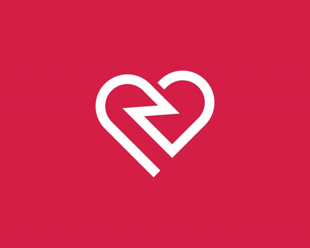Heart with lighting bolt logo design