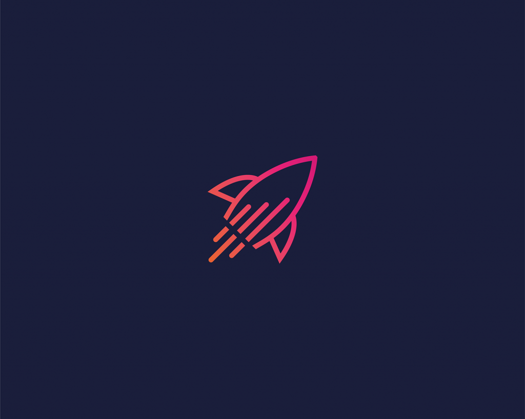 modern data rocket logo design