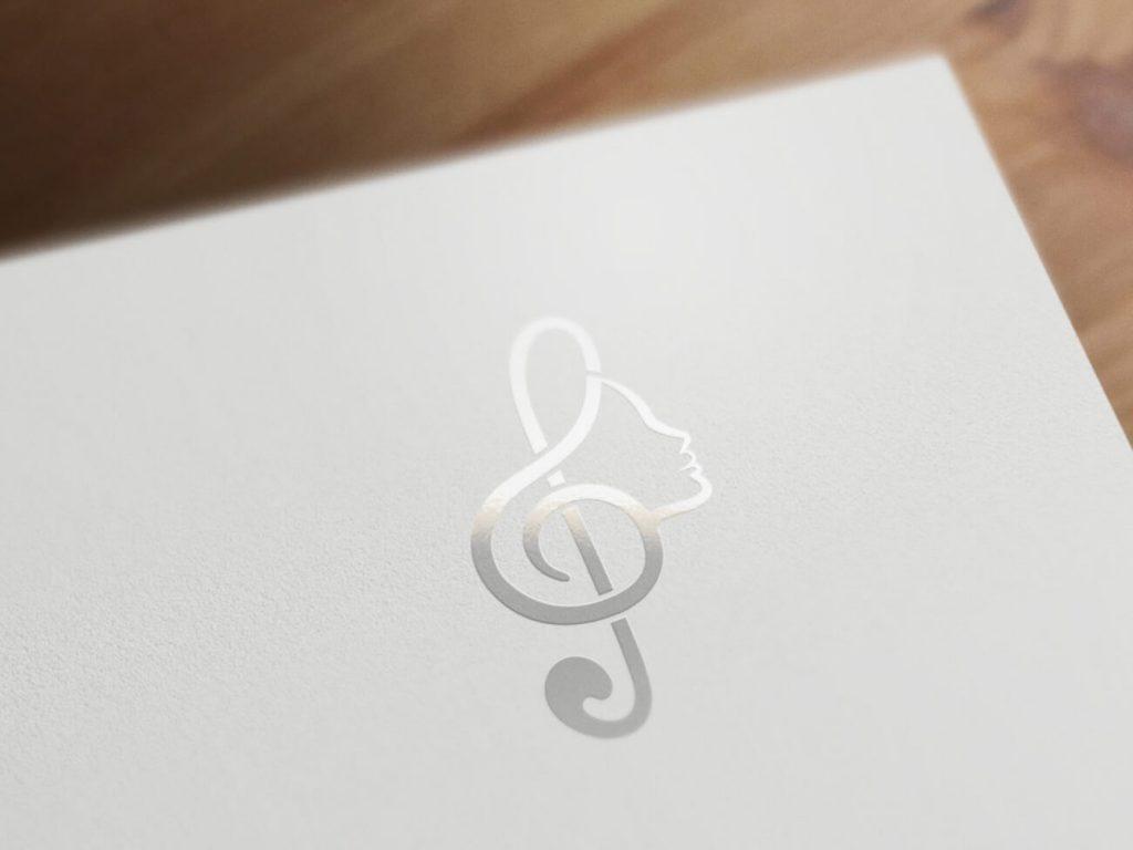 Joyfull Voices damesensemble logo design in spot uv