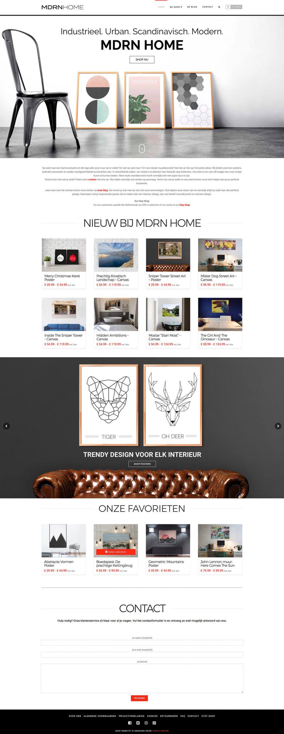 wall art webshop webdesign homepage