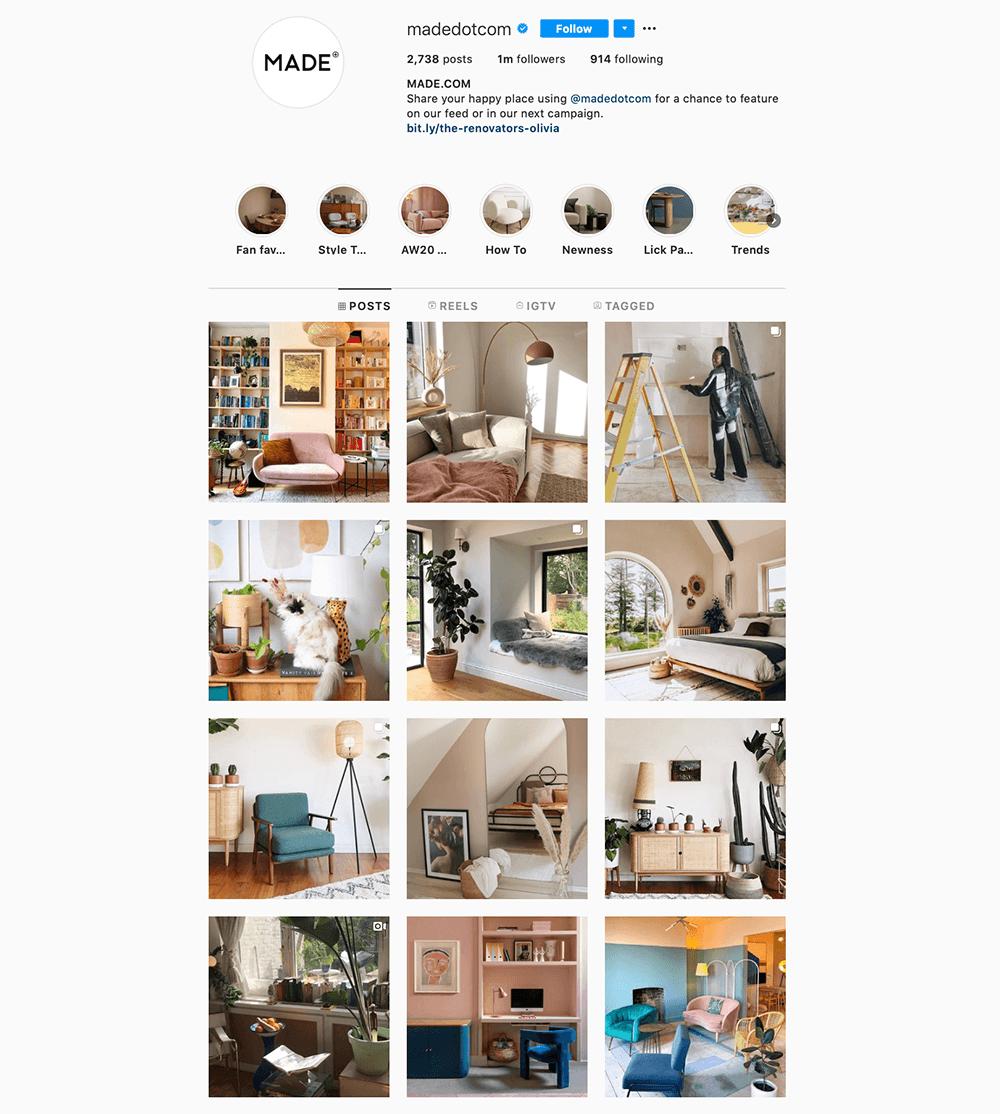 madedotcom instagram profiel