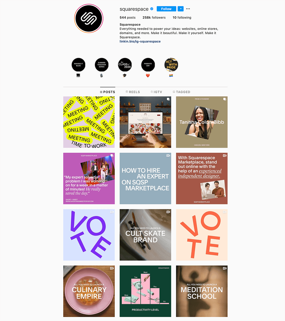 social media profielen met aantrekkelijke uitstraling - Squarespace