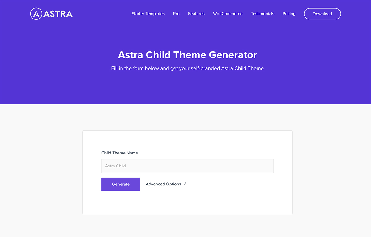 astra child theme generator copy