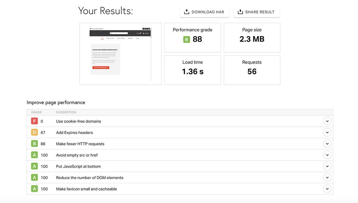 maak je wordpress website sneller met een cache plugin test resultaat Pingdom